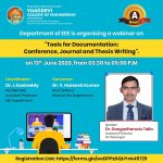 """a webinar on """"Tools for Documentation: Conference, Journal and Thesis Writing"""""""